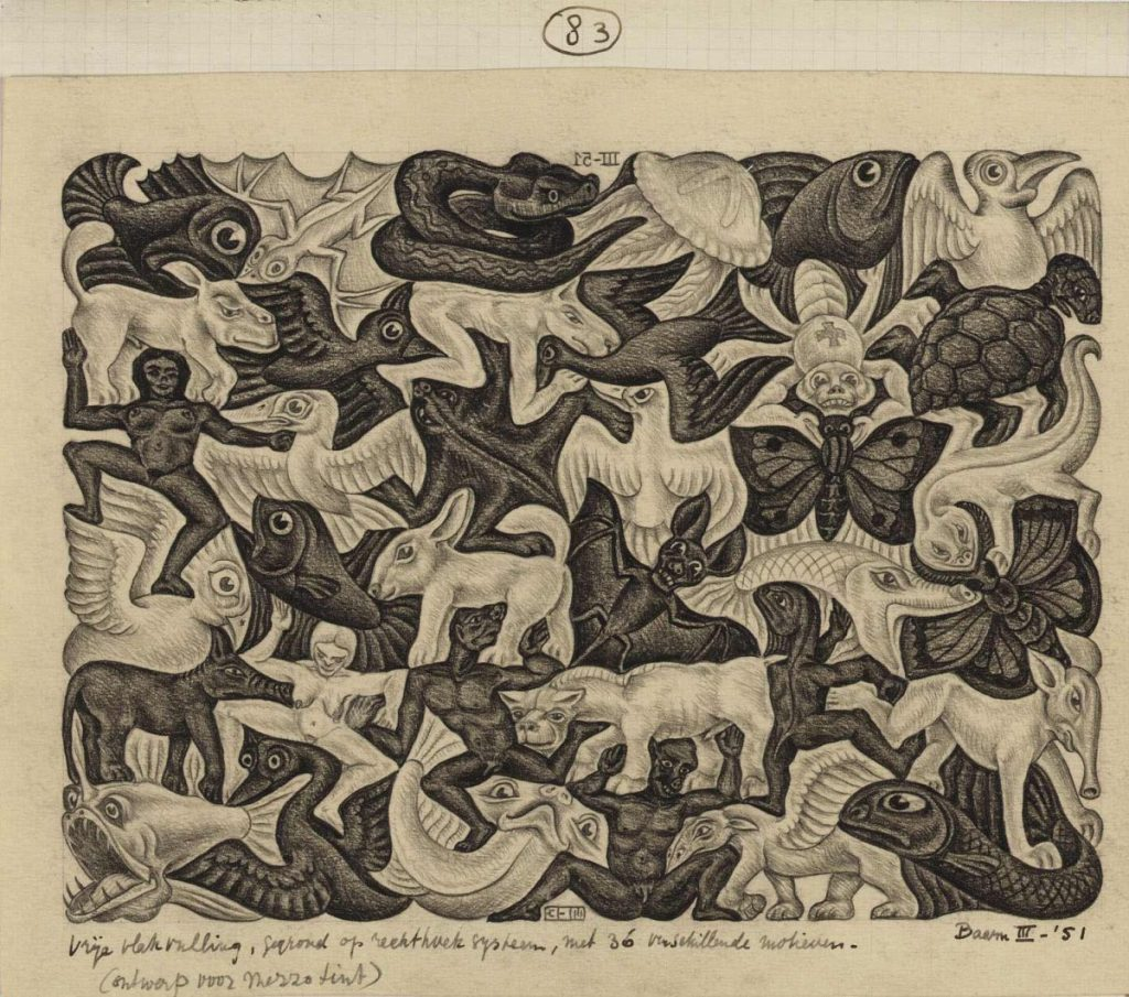 M.C. Escher, drawing 83, tessellation based on a rectangle system with 36 different motifs (design for a mezzotint), pencil on paper, March 1951. This is one of the few non-periodic tilings in Escher's notebooks.