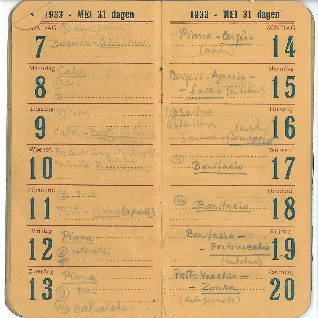 Eschers agenda van 7-20 mei 1933, met het bezoek aan de Calanches van Piana en ook Calvi, Sartena, Bonifacio en Portovecchio.