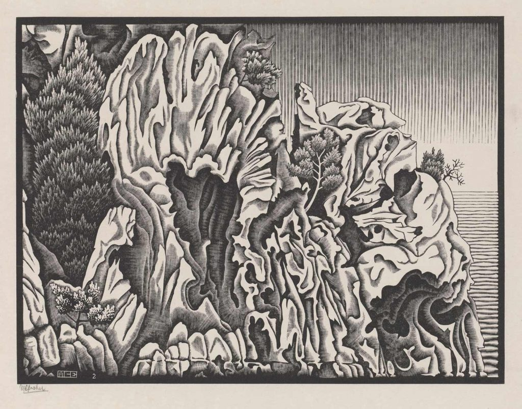 M.C. Escher, Calanche of Piana, Corsica, wood engraving, February 1934