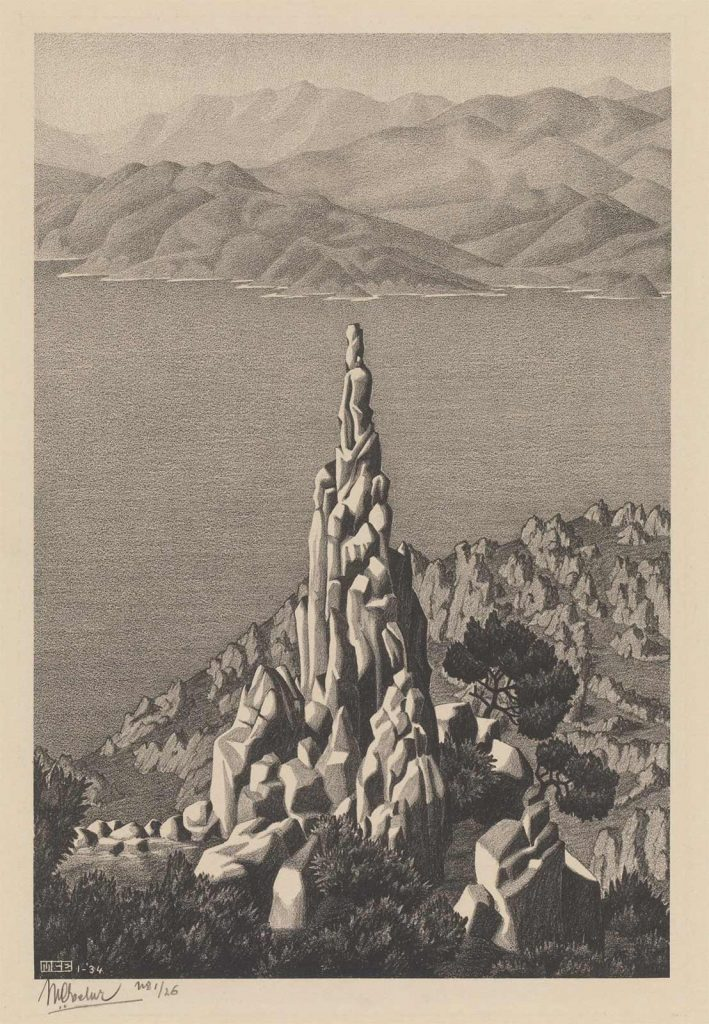 M.C. Escher, Corsica, Calanche (Calanche of Piana, Corsica) lithograph, January 1934