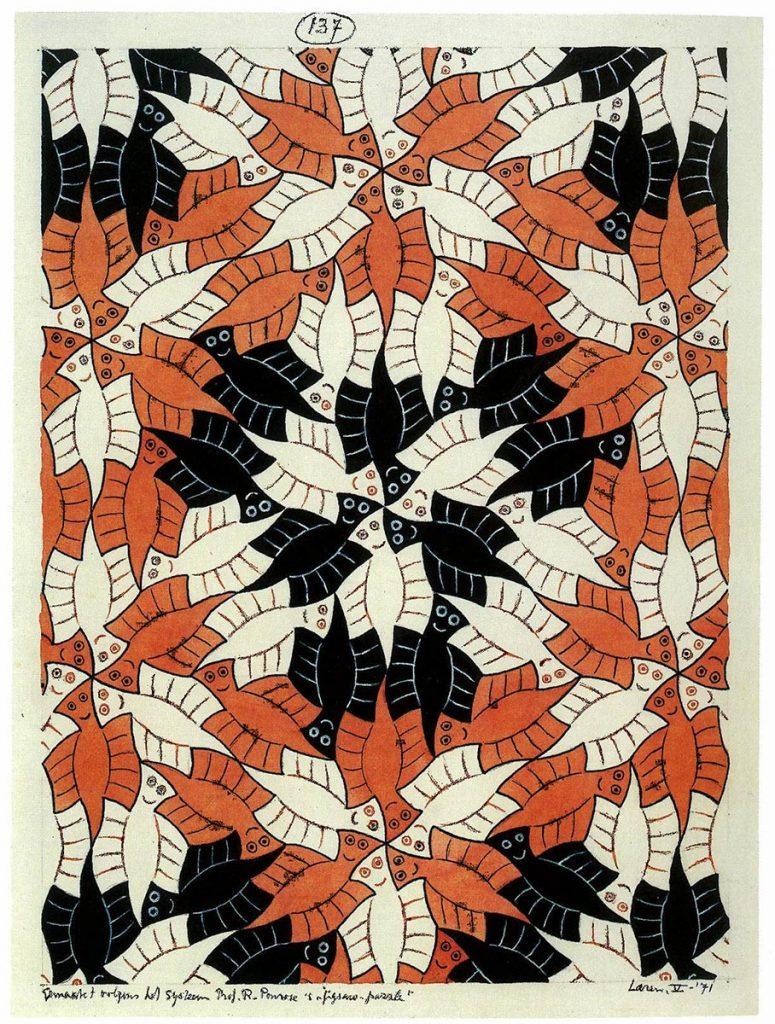M.C. Escher, Regelmatige vlakverdeling, nr. 137 (Spoken), Oost-indische inkt en waterverf op papier, mei 1971