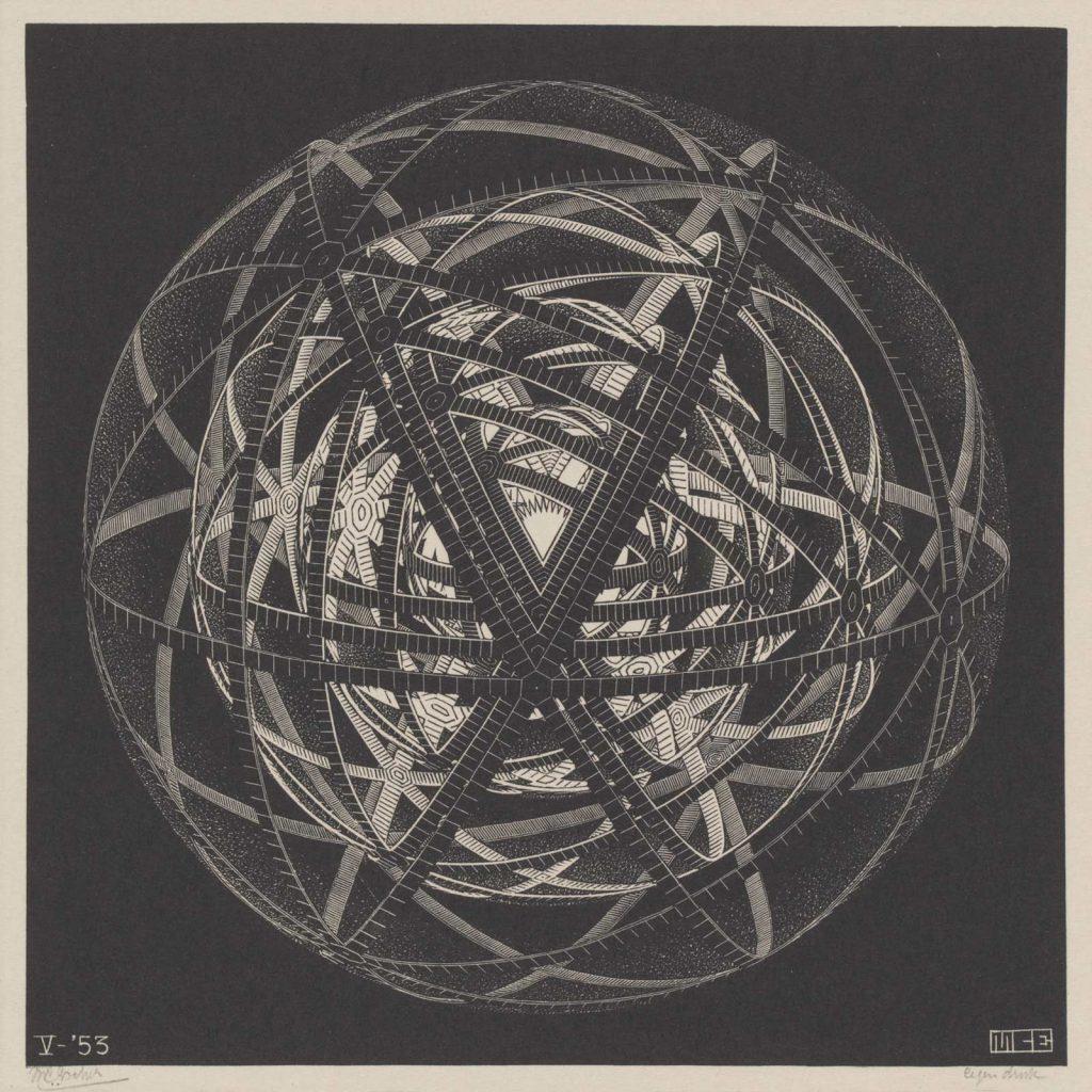 M.C. Escher, Concentrische schillen (Concentrische ruimtevulling/Regelmatige bolverdeling), houtgravure, mei 1953
