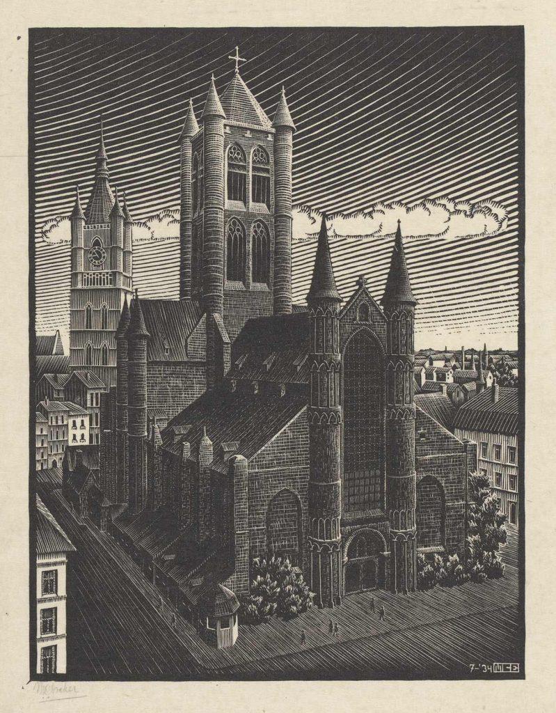 M.C. Escher, St. Bavo, Ghent, woodcut (July 1934)