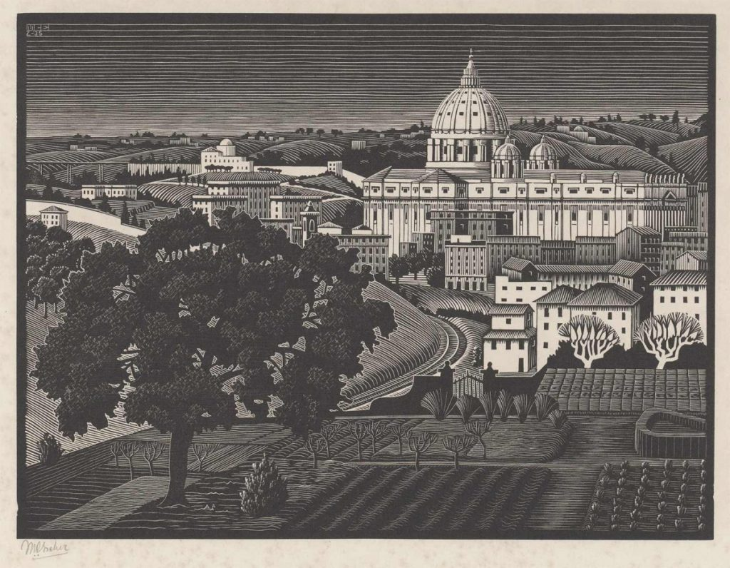 M.C. Escher, St Peter's [Seen] from the Gianicolo [Rome], wood engraving, February 1935
