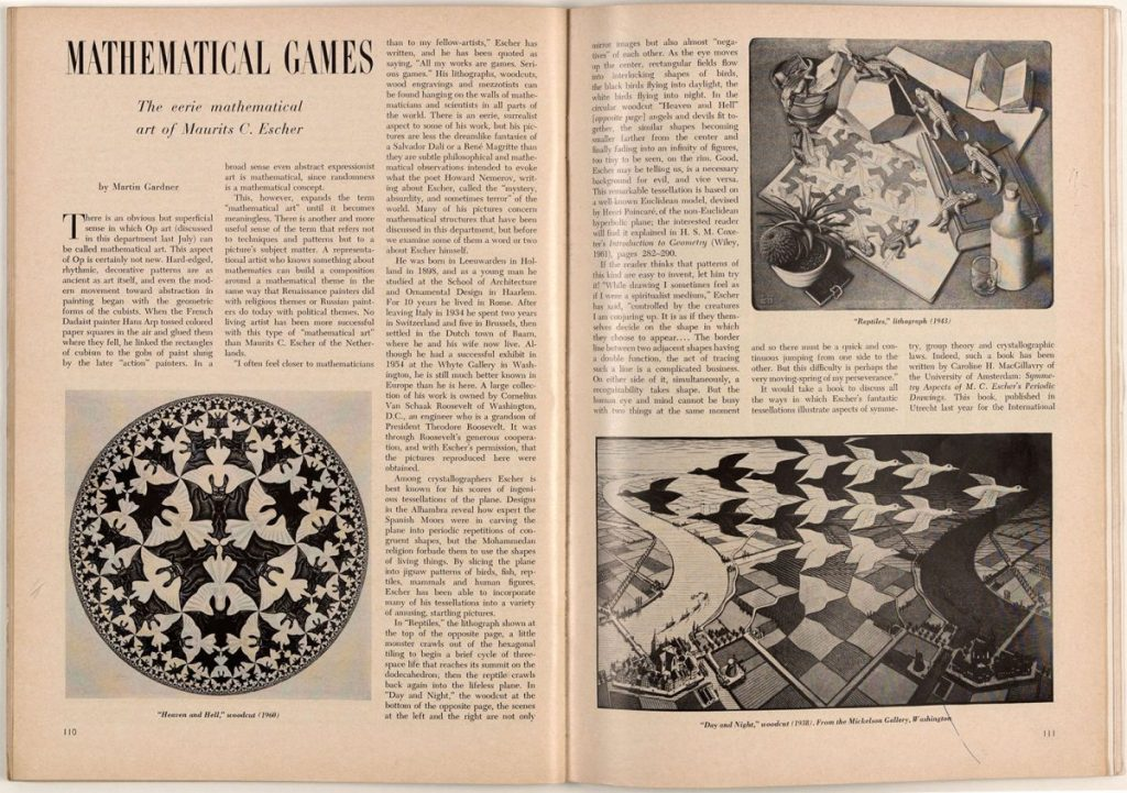 Martin Gardner's column on M.C. Escher in Scientific American, April 1966