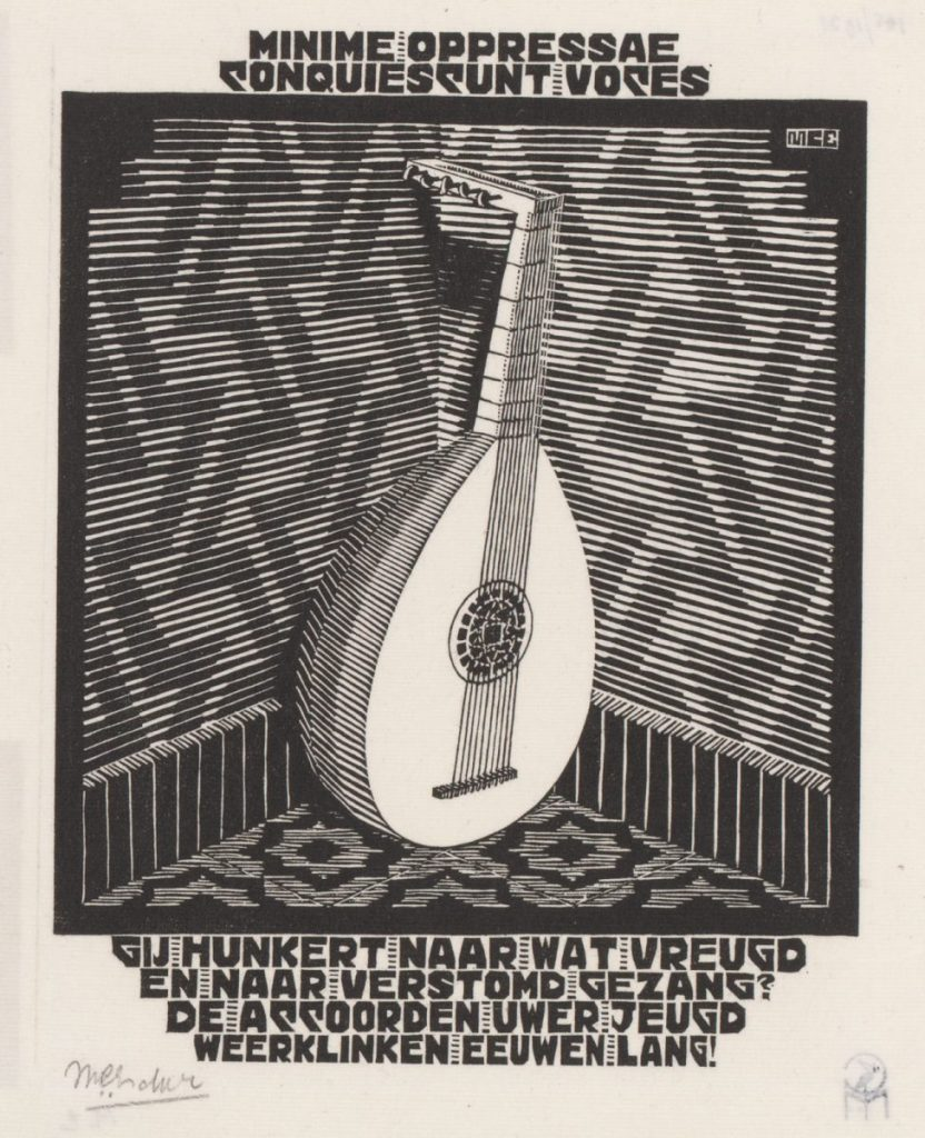 M.C. Escher, Lute (XXIV Emblemata), woodcut, between March and June 1931