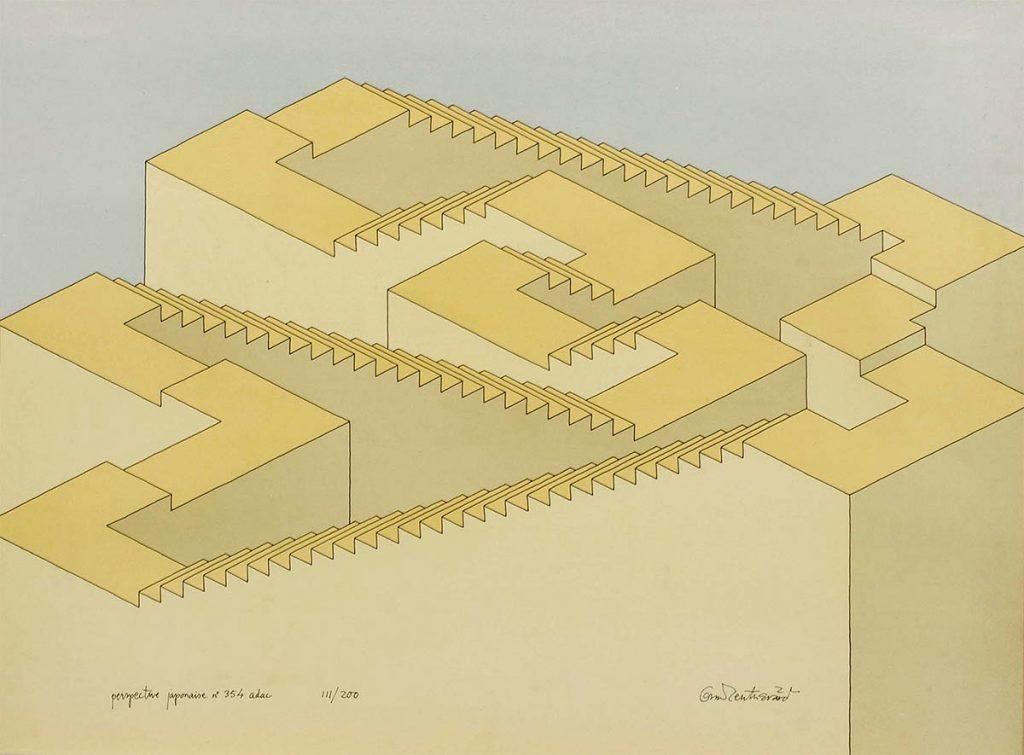 Oscar Reutersvärd, perspective japonaise nr. 354, kleurenlitho