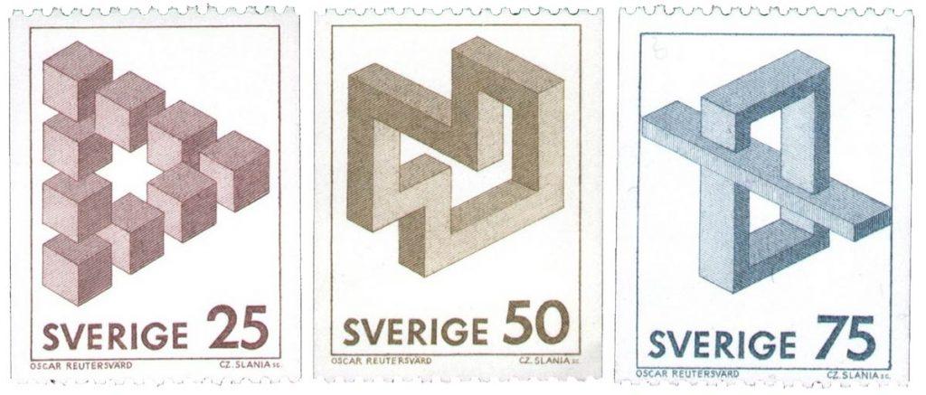 De serie van 3 postzegels met de onmogelijke figuren van Oscar Reutersvärd, 1982