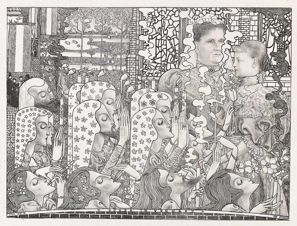 Jan Toorop, Verheugd Gouda, 1897. Litho. Collectie Kunstmuseum Den Haag