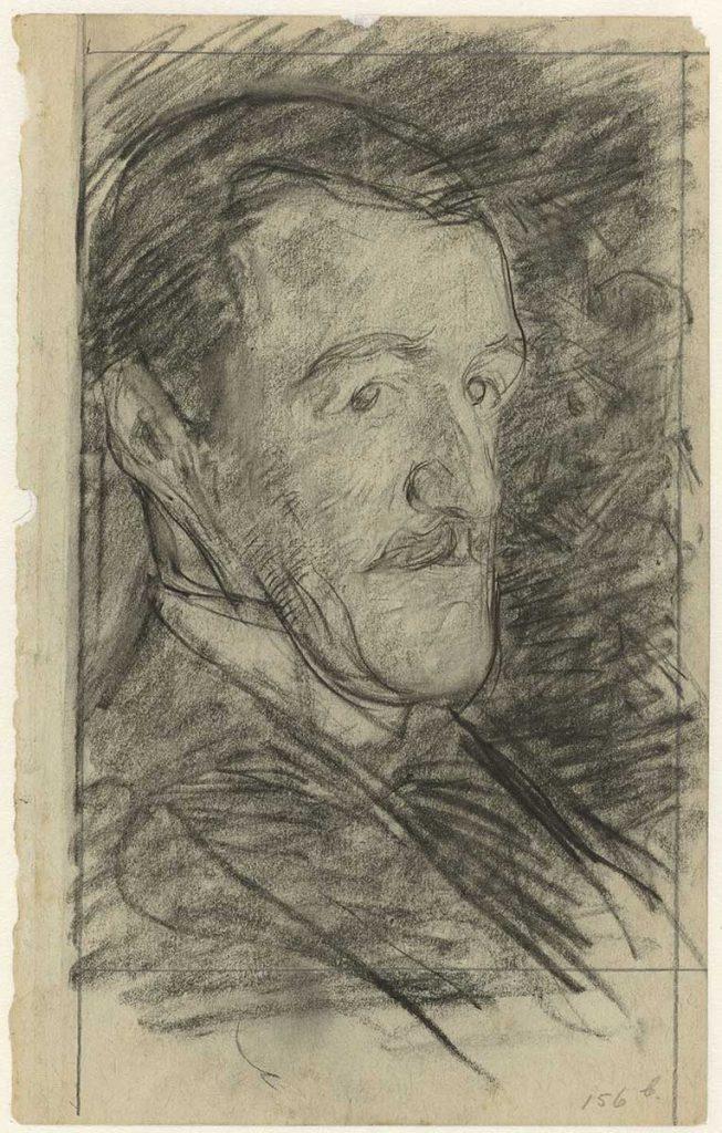 Jan Veth, Portret van Richard Roland Holst, zwart krijt, datum onbekend. Collectie Rijksmuseum Amsterdam