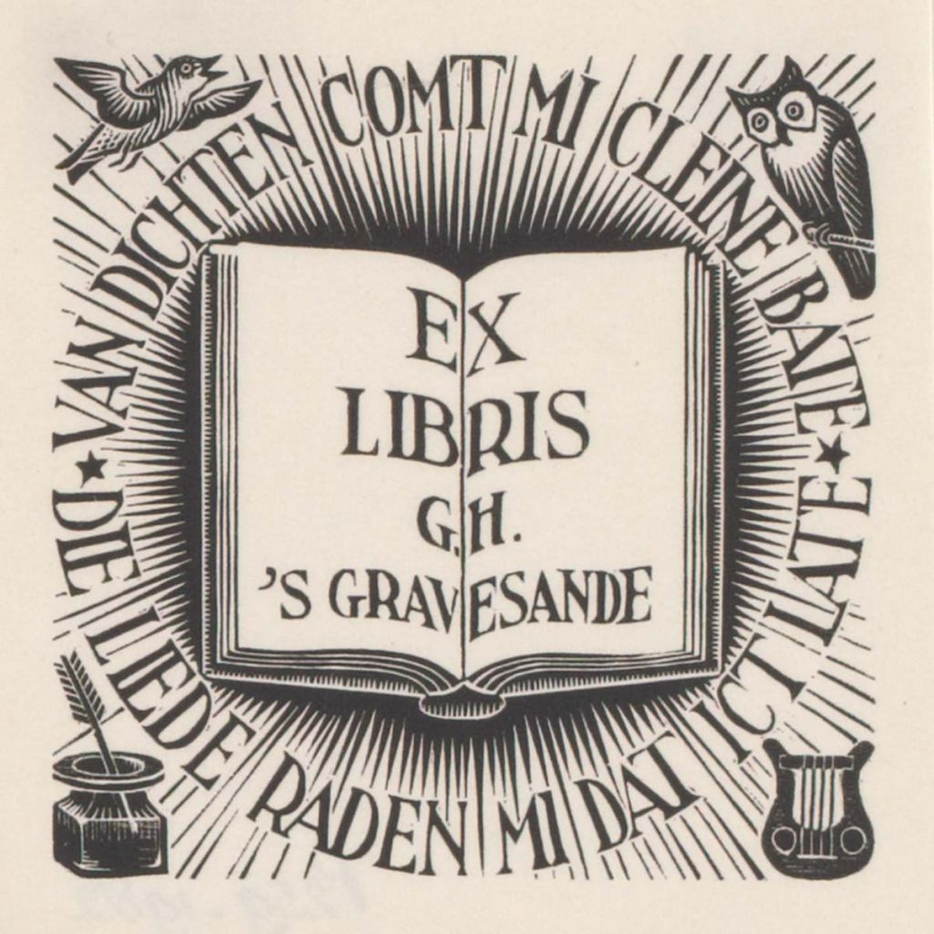M.C. Escher, Ex-libris G.H. 's Gravesande, houtgravure, december 1940